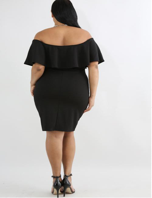 plus size midi dress - black