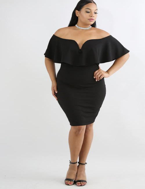 Summa - Plus Size Bodycon Midi Dress