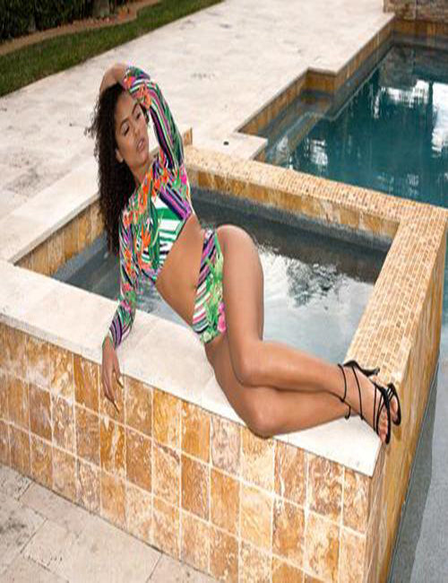 Lora - High Waist Floral Swimsuit - Semai House Of fashion