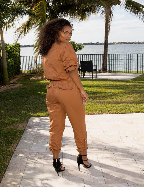 Leah- Camel Zip Up Jumpsuit