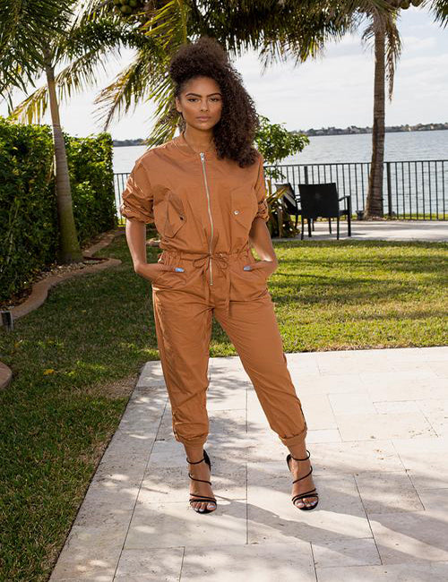 Leah- Camel Zip Up Jumpsuit - Semai House Of fashion