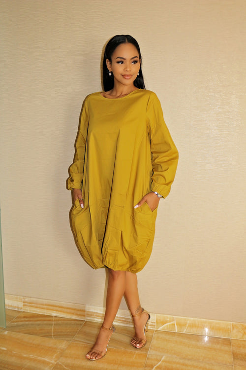 Oversized Dress with Gorgeous Mustard - Semai House Of fashion