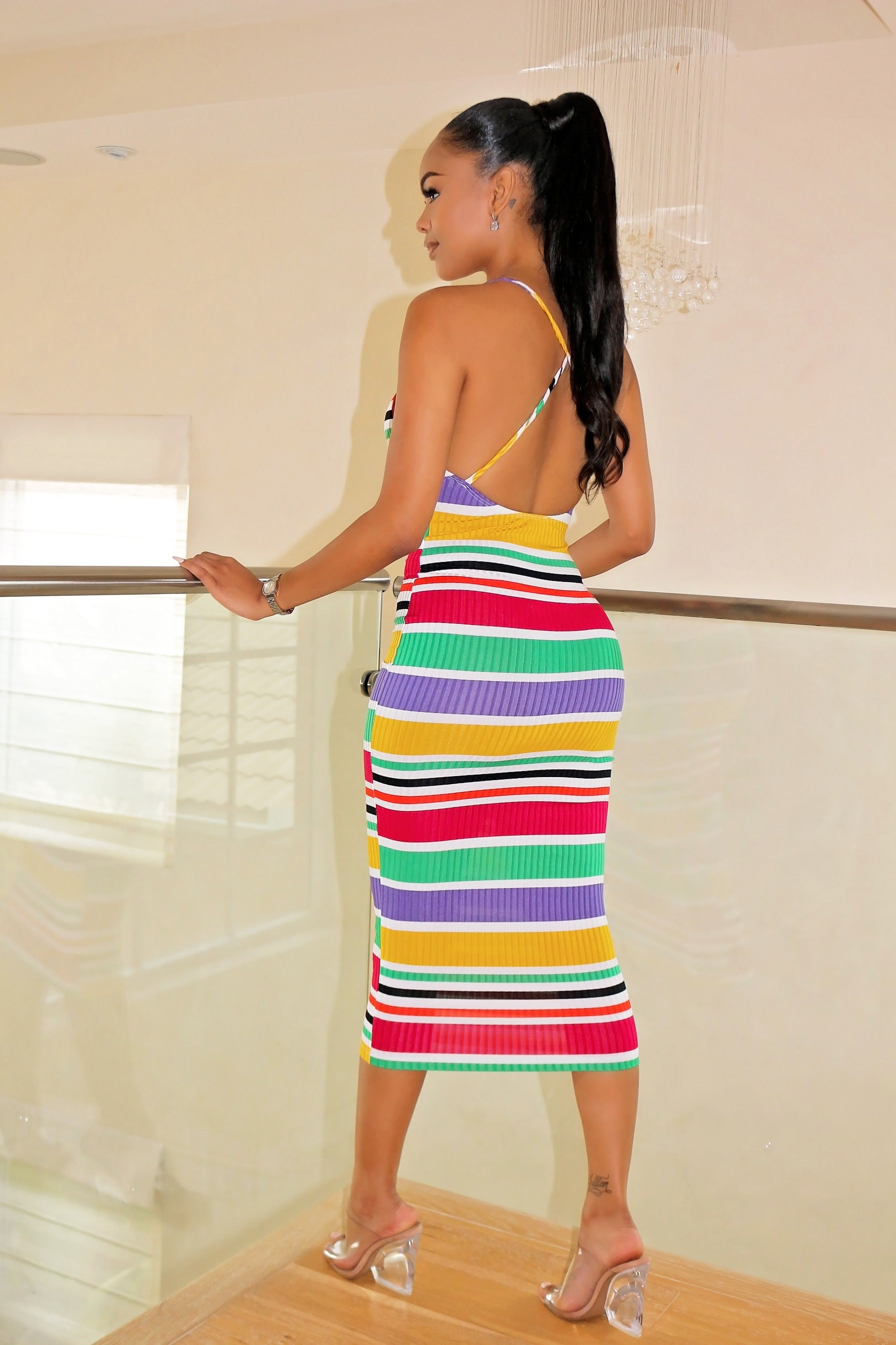 Striped Down Pretty colorful Dress - Semai House Of fashion