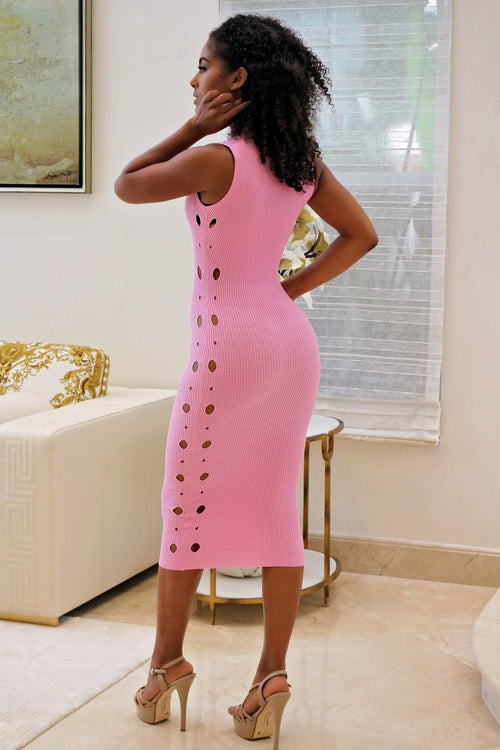 Babygirl Is On Fire Pink Midi Dress