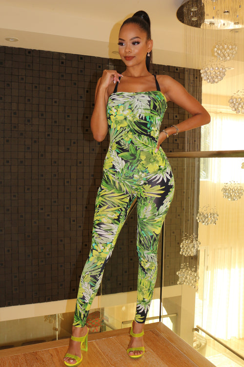 Colorful tropical Jumpsuit - Green