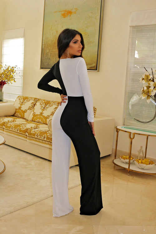 Classy white and Black Jumpsuit - Semai House Of fashion