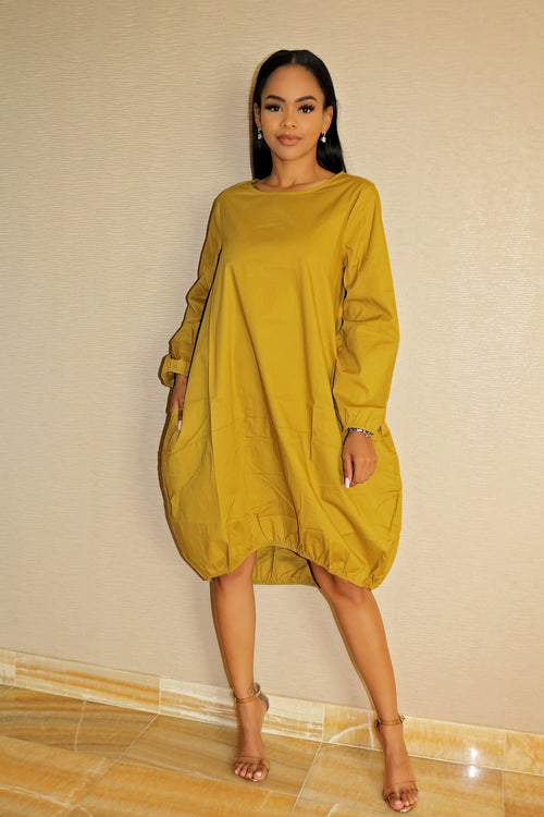 Oversized Dress with Gorgeous Mustard