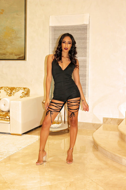 Cut Through Black Sexy Romper - Semai House Of fashion