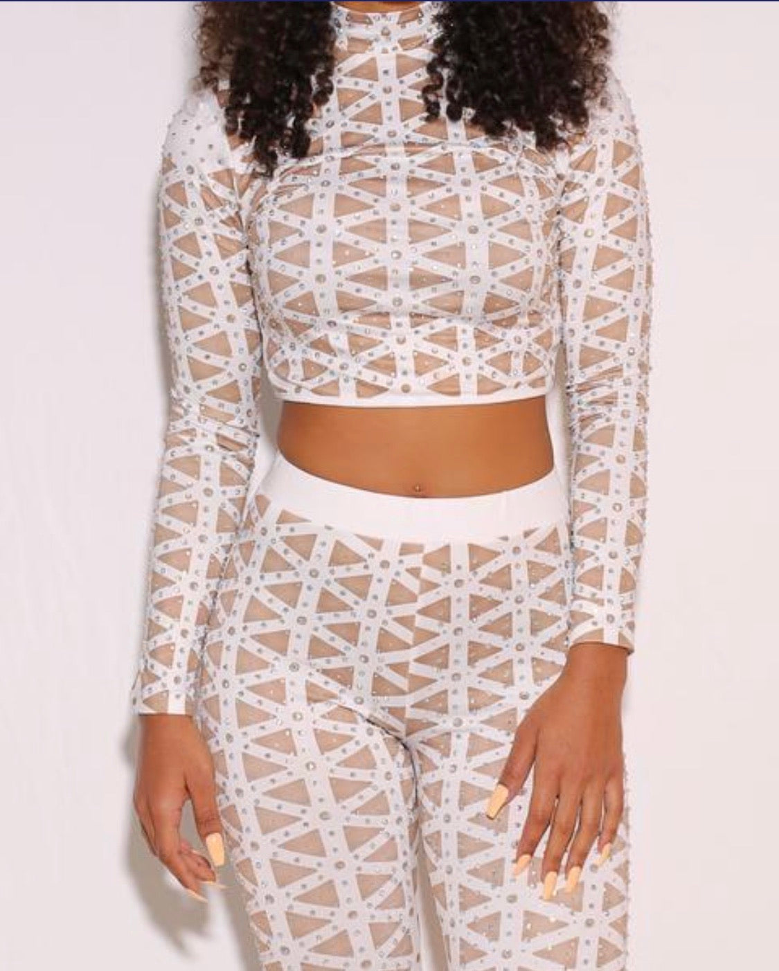 Long Sleeve Matching Crop Top Set- Nude - Semai House Of fashion