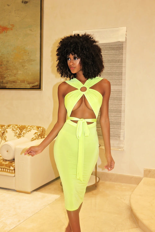 Cut Out Mid Section Dress Neon