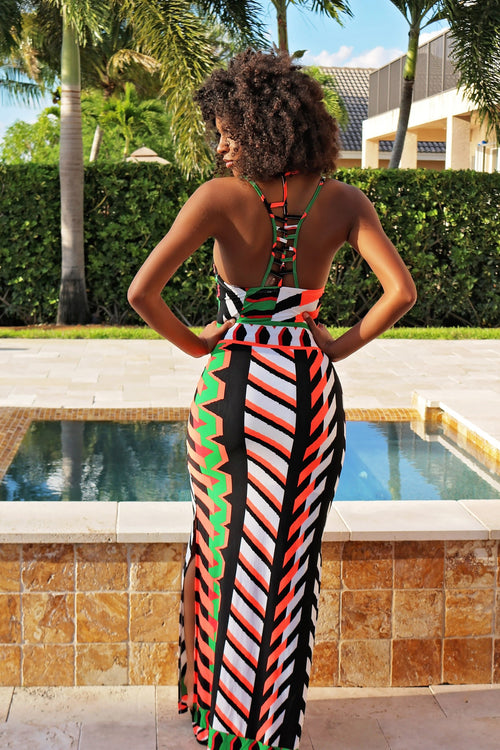Long Swimmer Colorful Dress