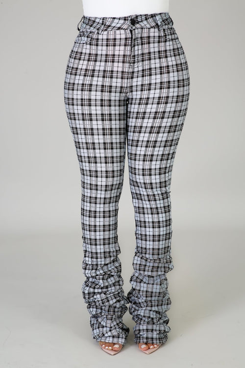 Plaid Pants - sky blue - Semai House Of fashion
