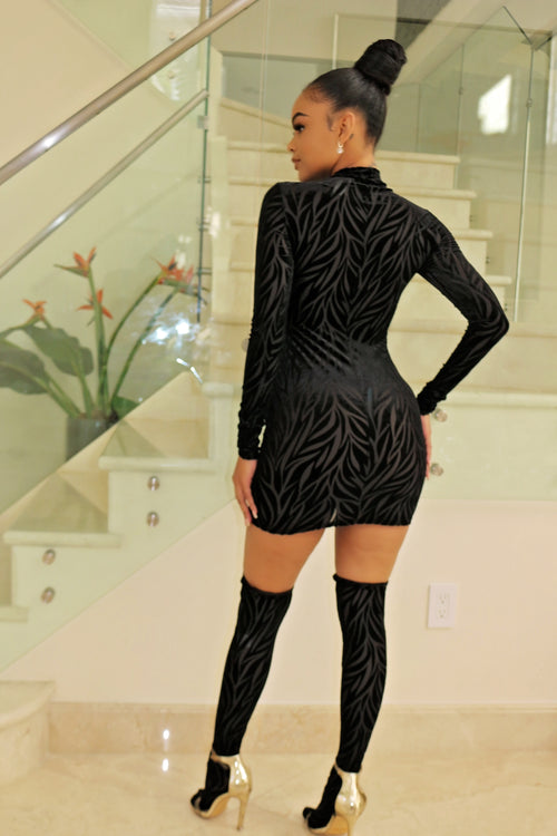 Mesh black long sleeve mini dress - Semai House Of fashion