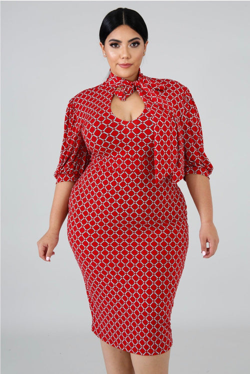 Kris Hot Red Plus size Mini Dress