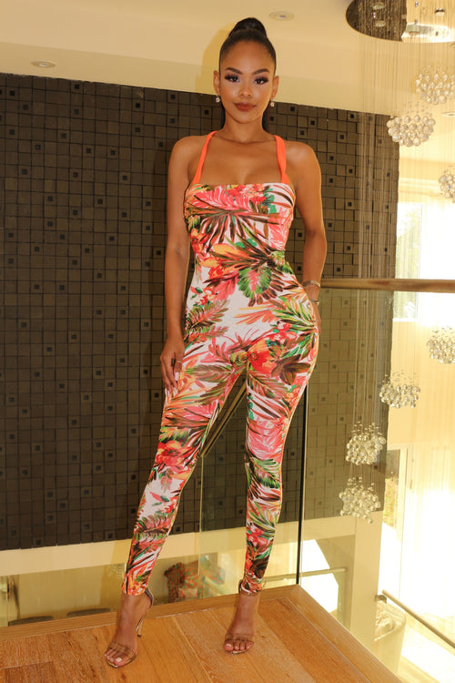 Colorful tropical Jumpsuit - Orange - Semai House Of fashion