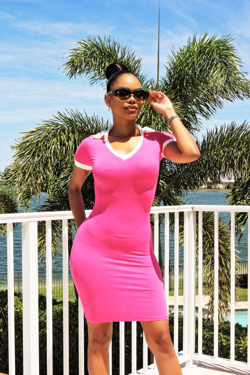 Fitted Mini Dress - pink