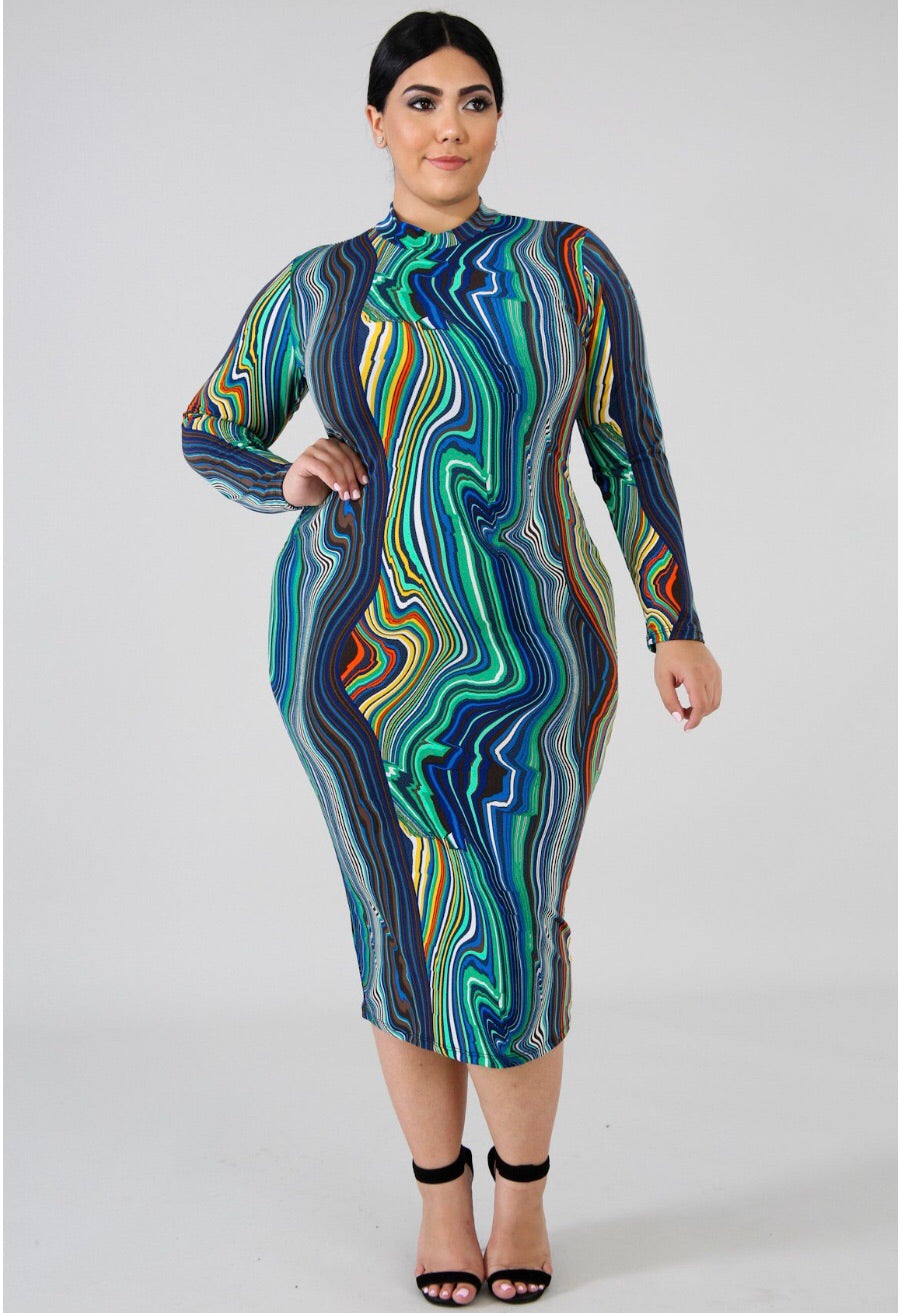 Eyes On Me Royal- Midi Plus Dress - Semai House Of fashion