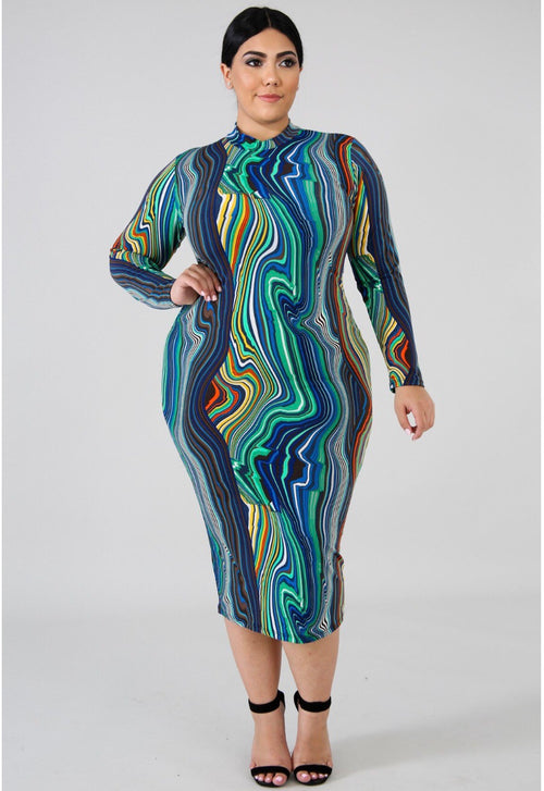 Eyes On Me Royal- Midi Plus Dress