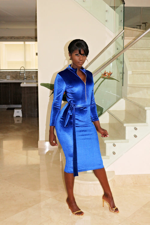 Velvet Midi Dress- Blue - Semai House Of fashion