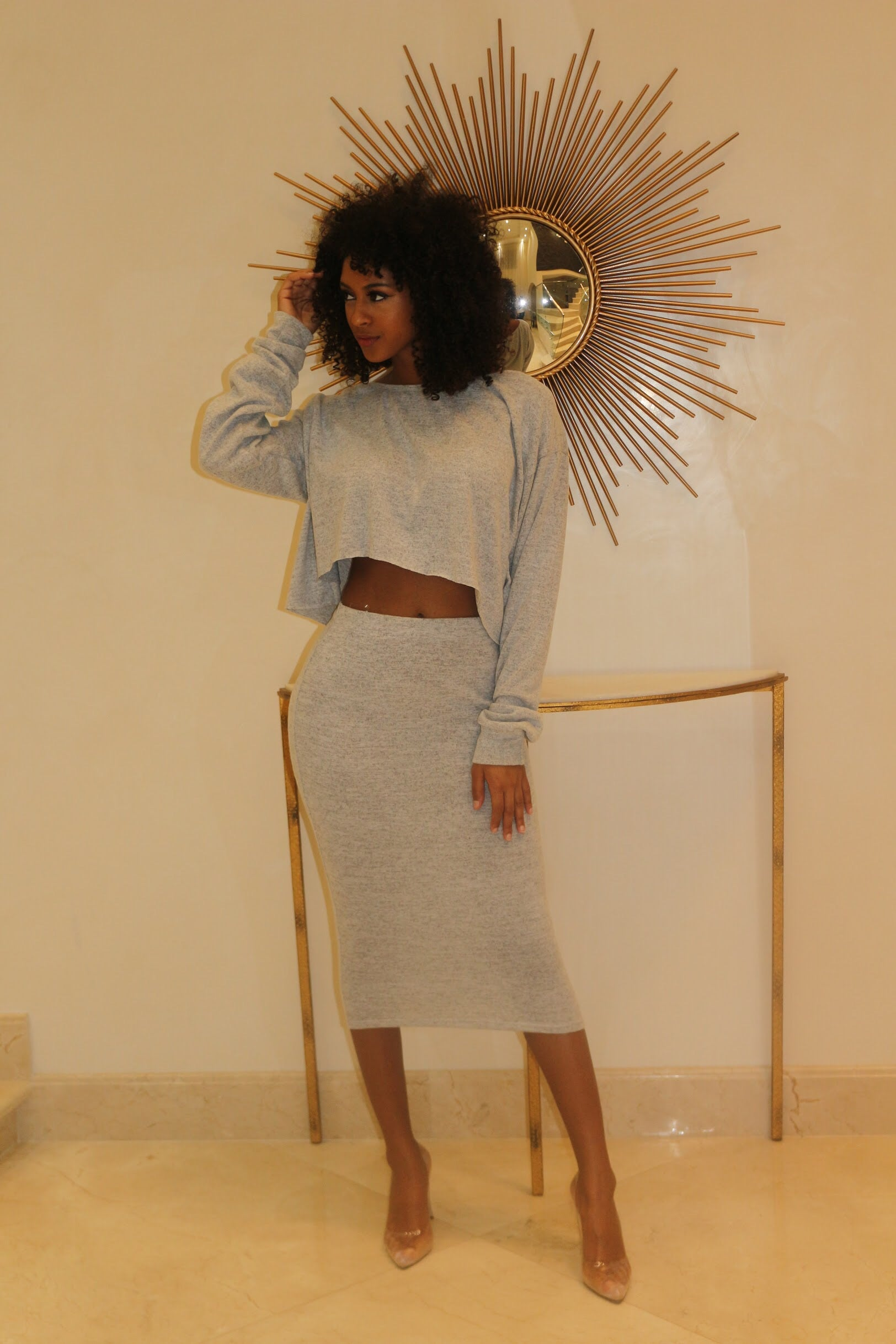 Show Your Comfort Skirt Set- Gray - Semai House Of fashion