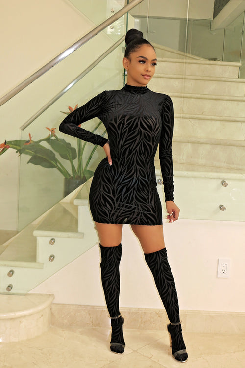 Mesh black long sleeve mini dress