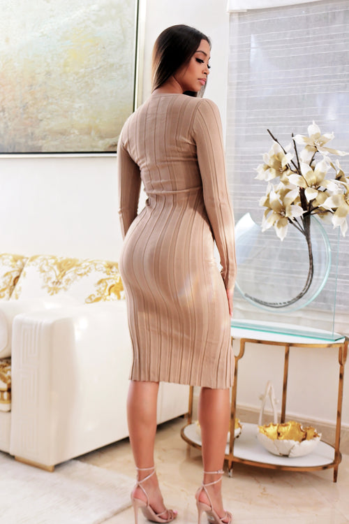 This Softly Touch Me dress- Tan - Semai House Of fashion