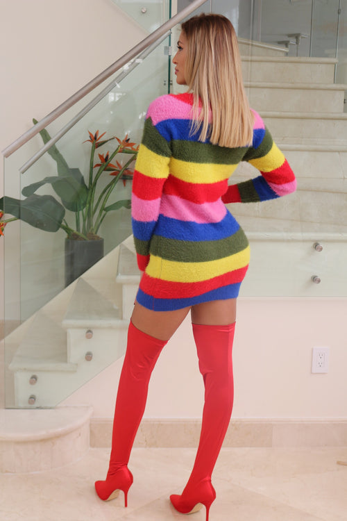 Rainbow Oversized Sweater Dress