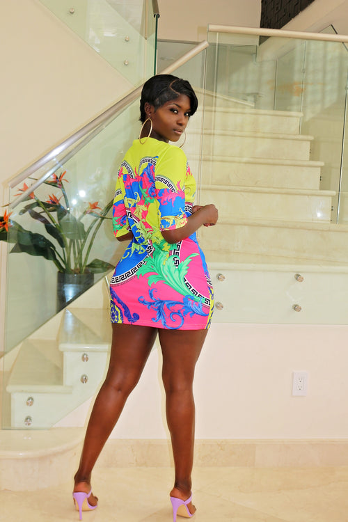 Colorful Mini Dress - Semai House Of fashion