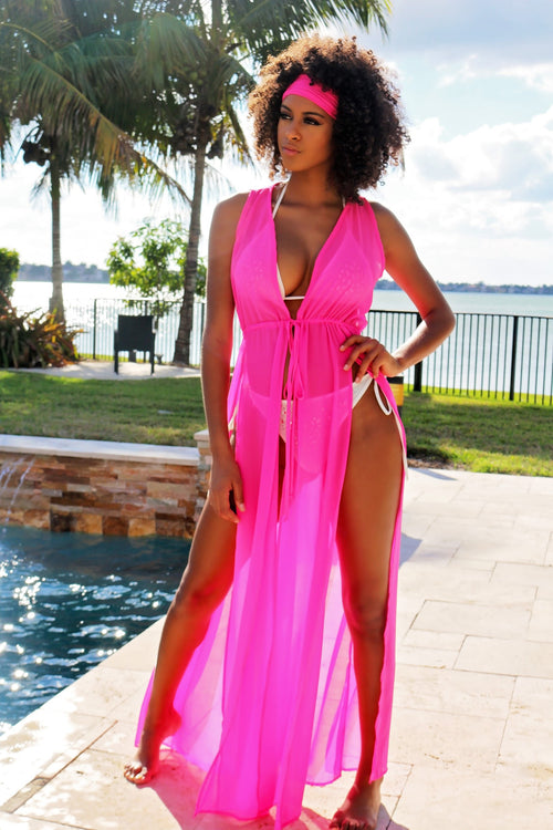 Sheer Maxi Beach Coverup - Fuchsia