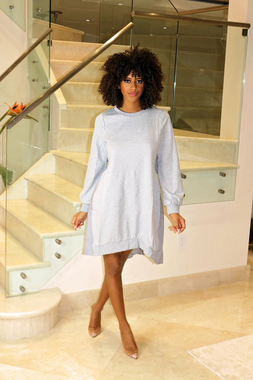 Just Be Yourself Oversized Dress- Gray - Semai House Of fashion