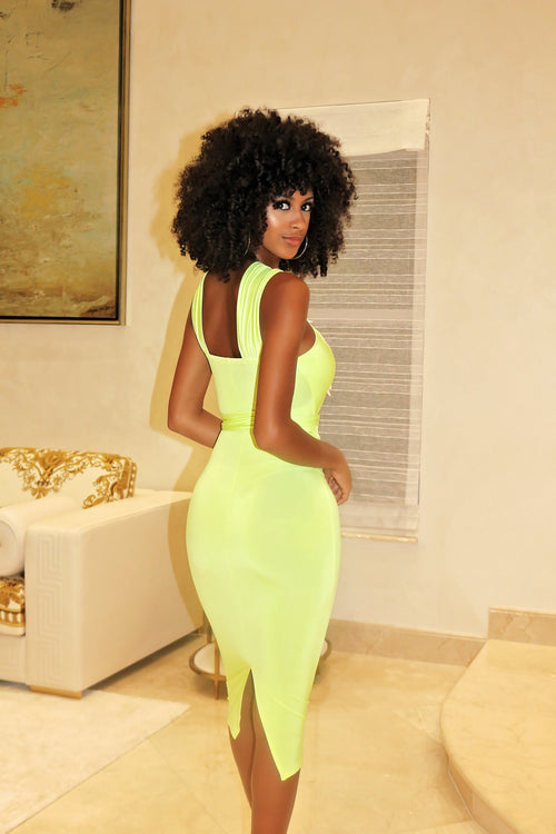 Cut Out Mid Section Dress Neon - Semai House Of fashion