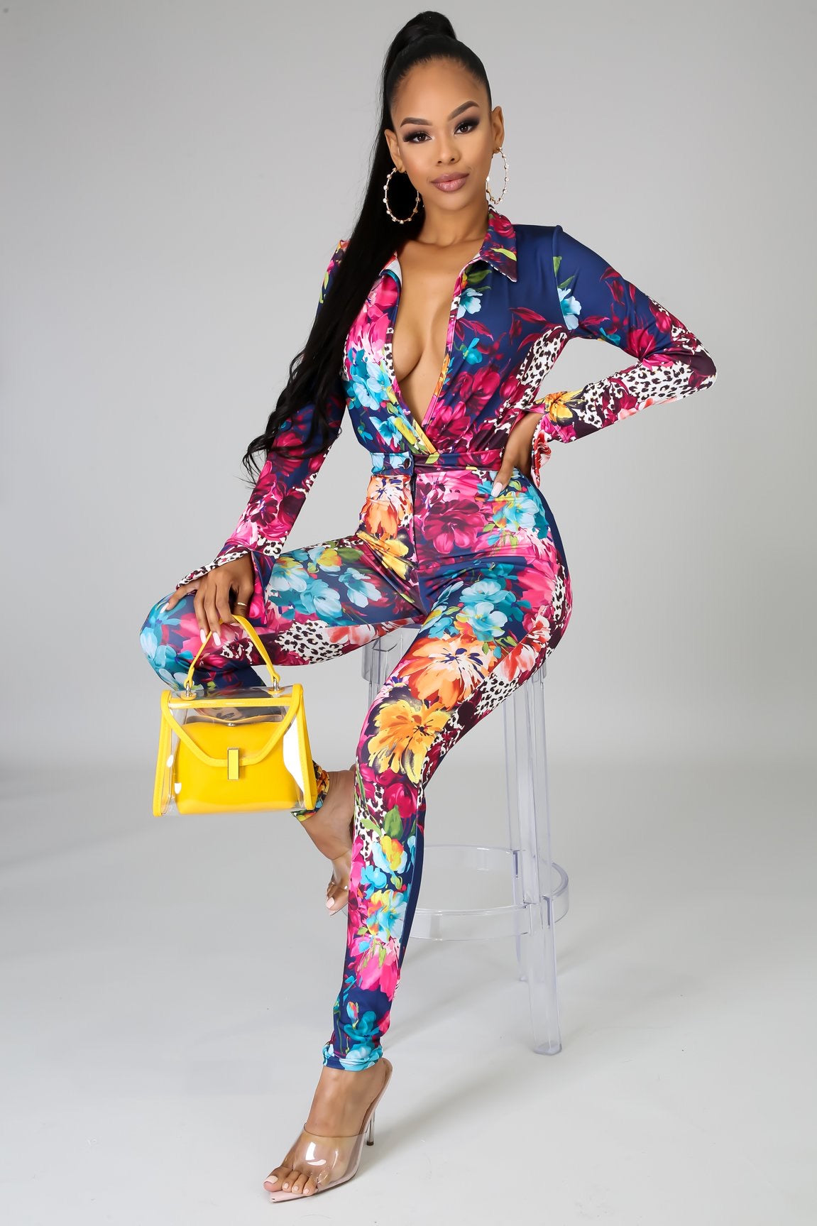 Colorful Two Piece Bodysuit Pants Set - Semai House Of fashion
