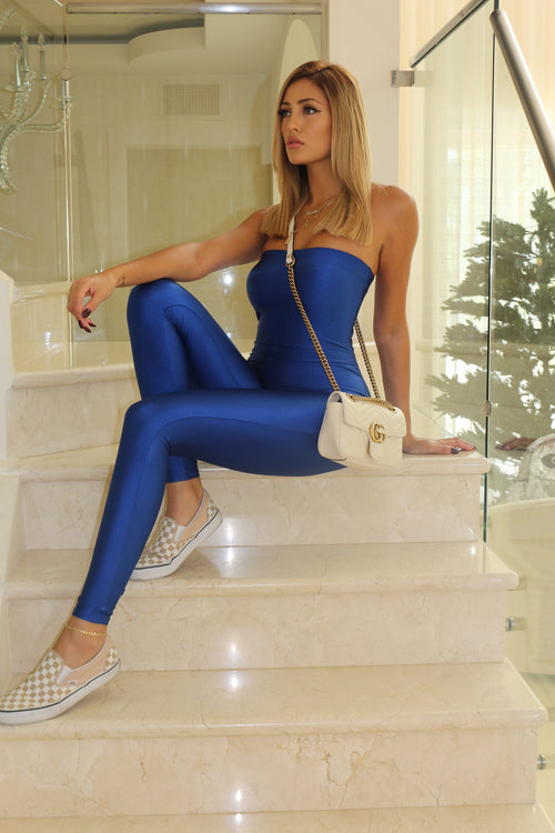Upper EastSide Strapless Jumpsuit- Blue