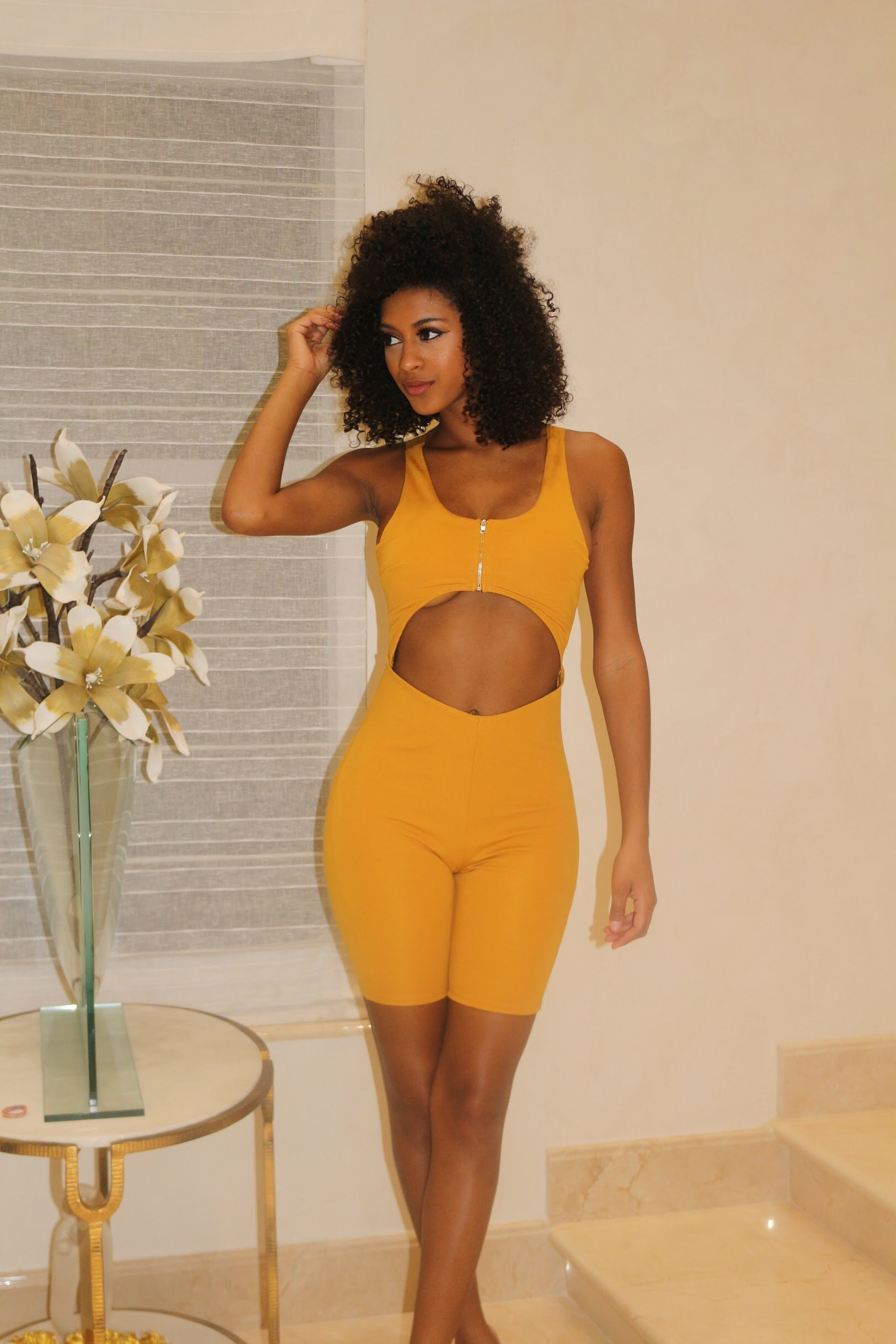 Hop On In Cutout Romper- Mustard - Semai House Of fashion