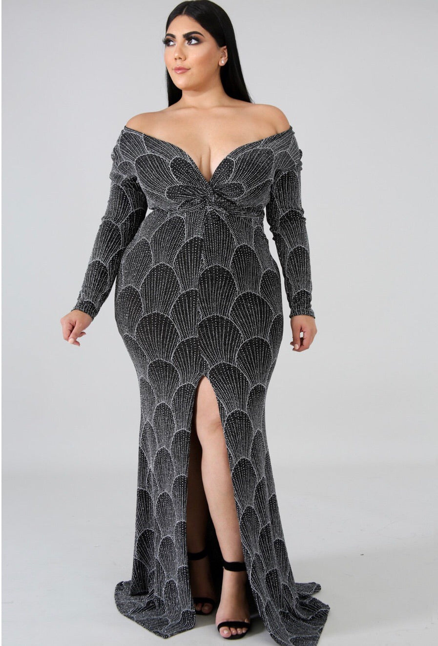 Glitter Long Sleeve Plus Size Dress – Semai House Of fashion