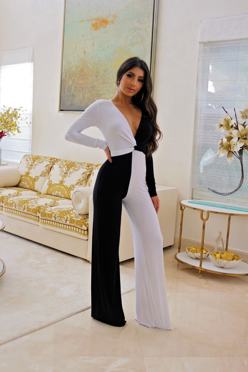 Classy white and Black Jumpsuit