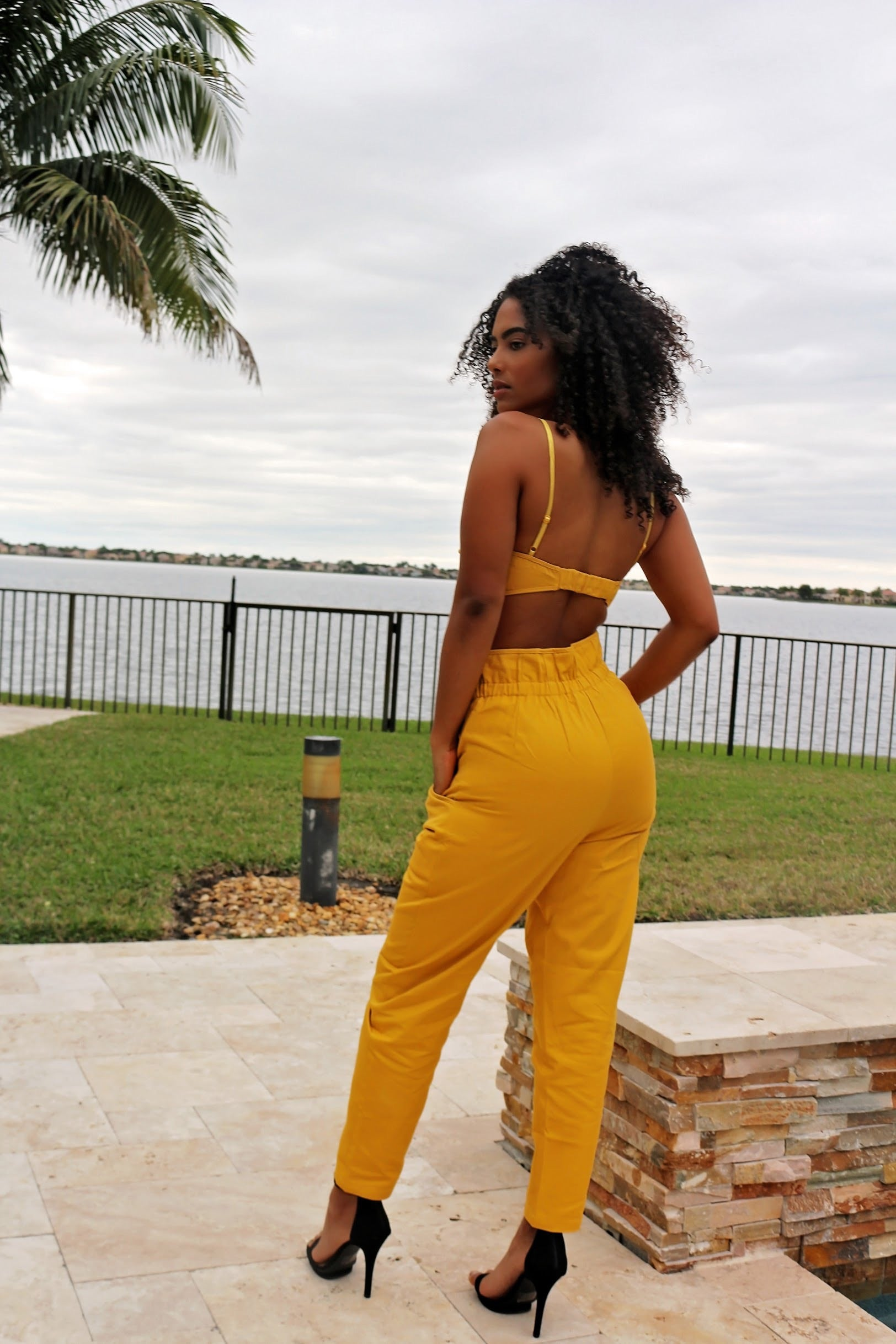 Buckle Boxy Denim Set- Mustard - Semai House Of fashion
