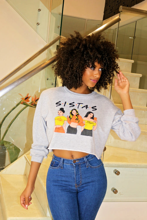 Sista Sista Crop Top- Gray