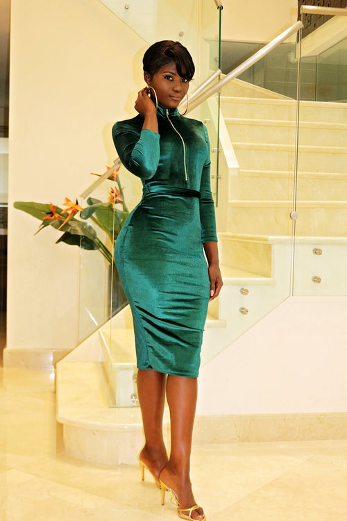 Velvet Midi Dress- Green - Semai House Of fashion