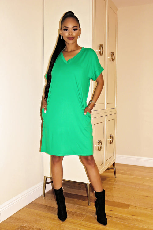 Everyday T-shirt Mini Dress Green