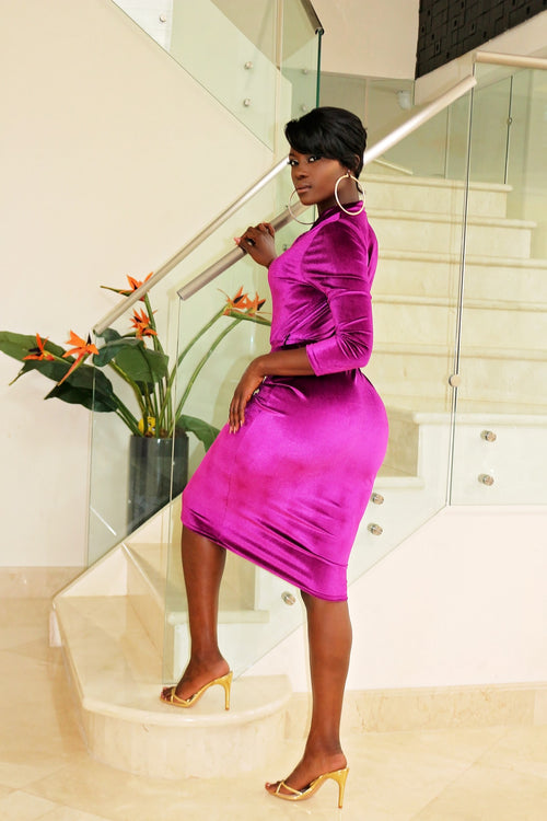 Velvet Midi Dress- Plum - Semai House Of fashion