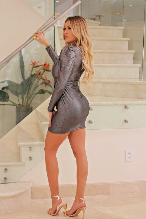 Clair Sexy Classy Showing Out - Sliver Mini Dress - Semai House Of fashion