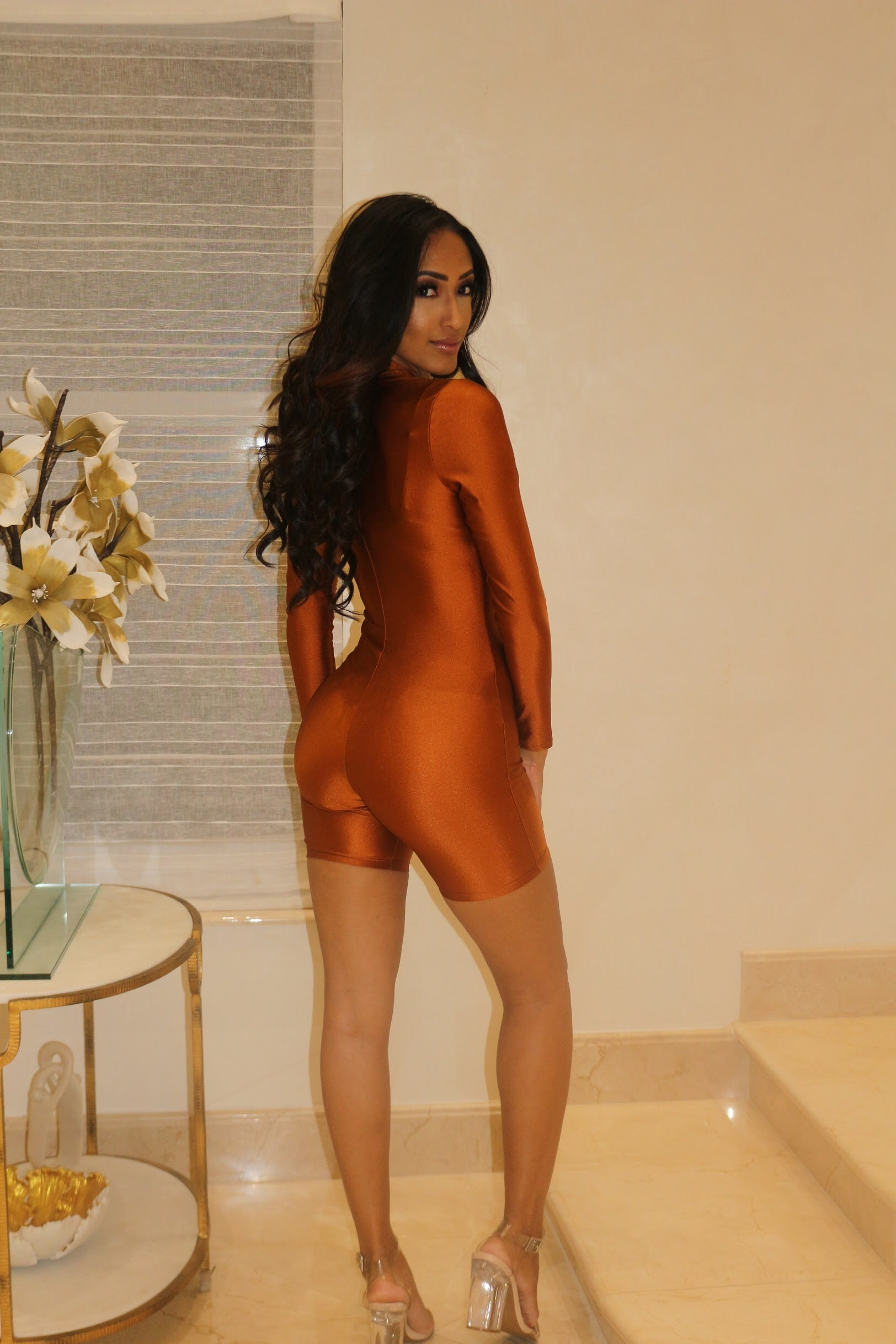 Long Sleeve Credit Card Romper- Rust - Semai House Of fashion