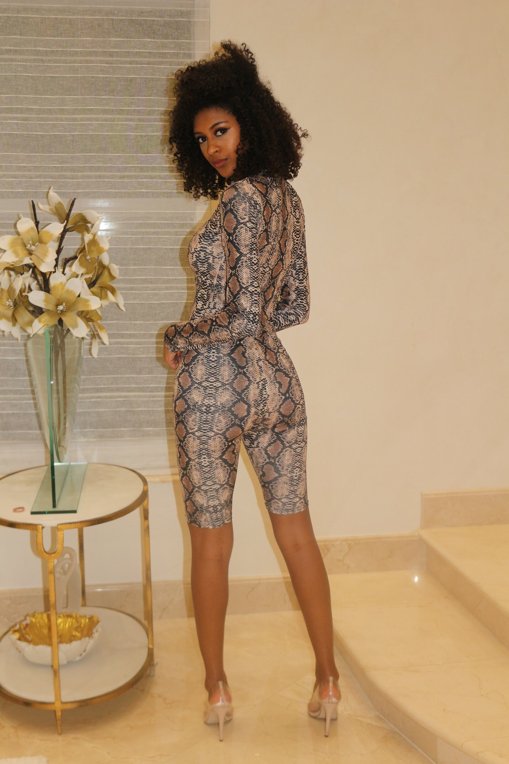 Fine Lines Leopard Biker Short Set - Semai House Of fashion