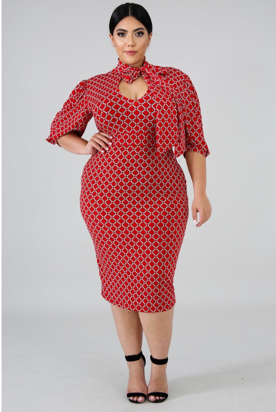 Kris Hot Red Plus size Mini Dress – Semai House Of fashion