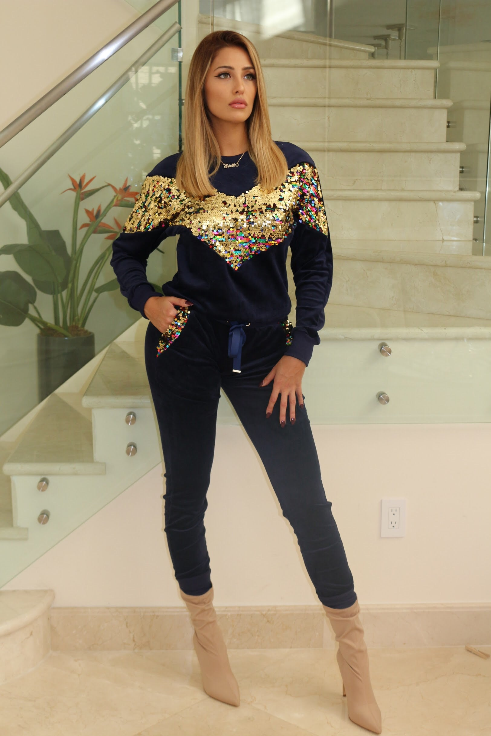Velvet and Sequin Set- Navy - Semai House Of fashion