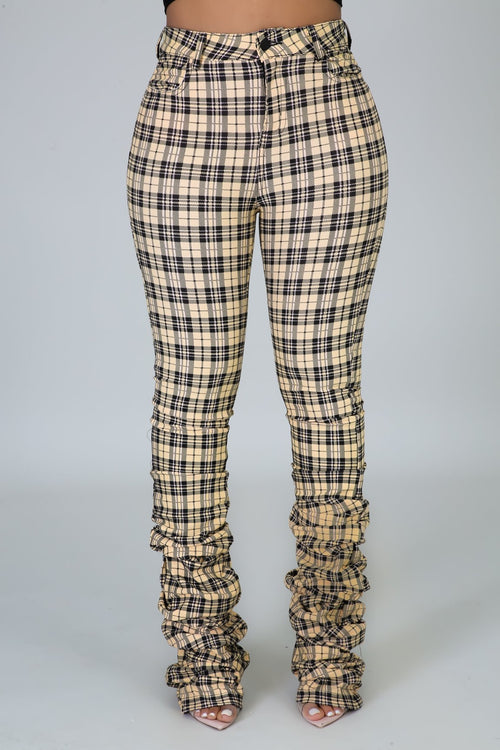 Plaid Pants - Yellow - Semai House Of fashion