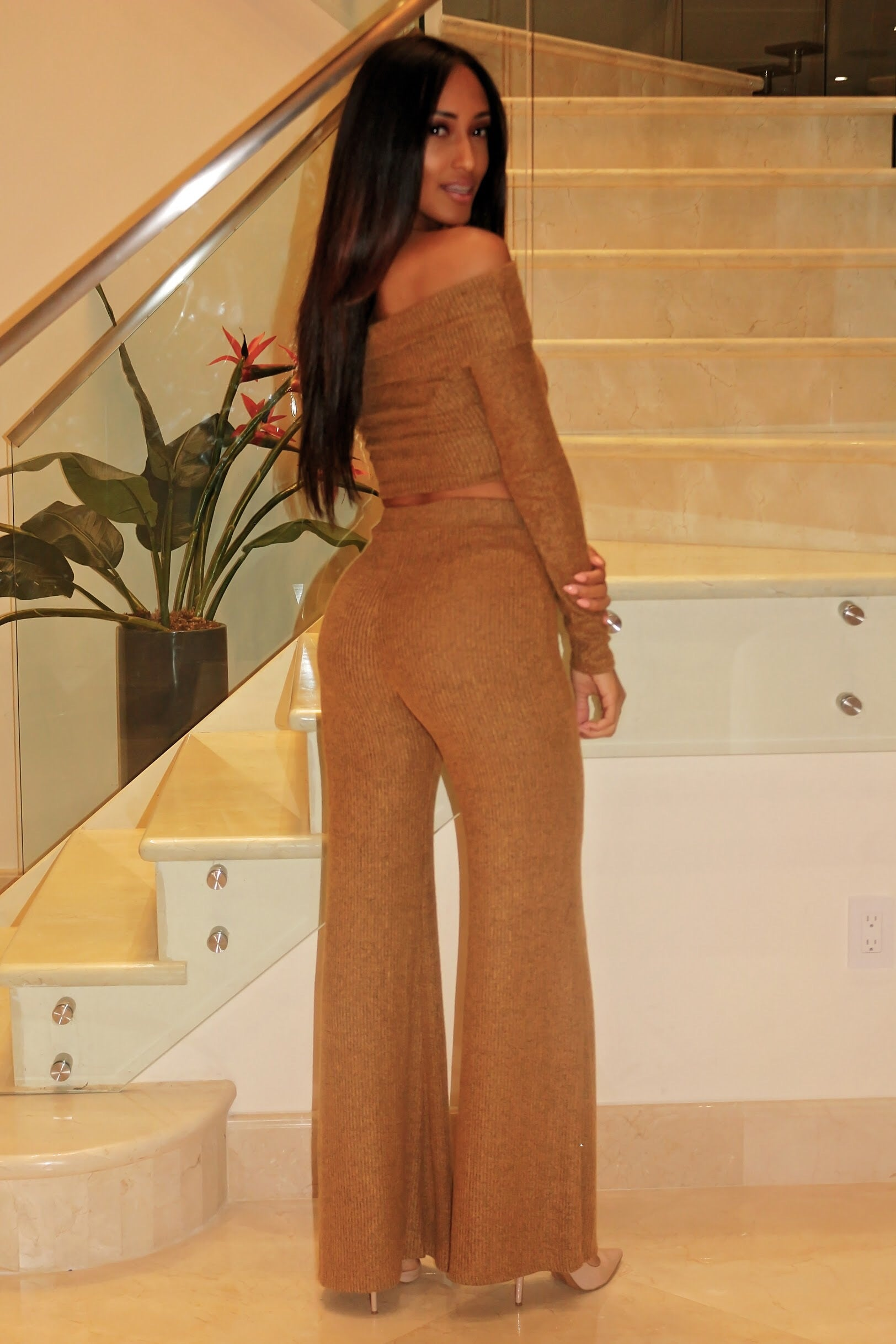 Rum Knitted Palazzo Set - Brown - Semai House Of fashion