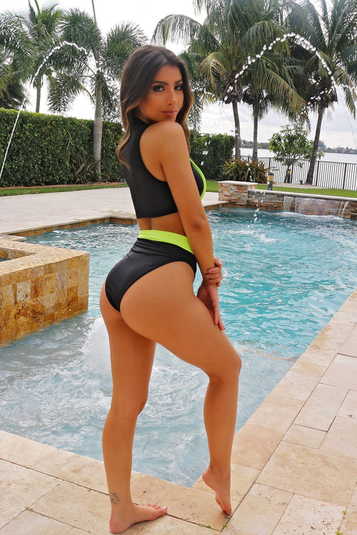 Guard On Neon Swim Set- Black - Semai House Of fashion