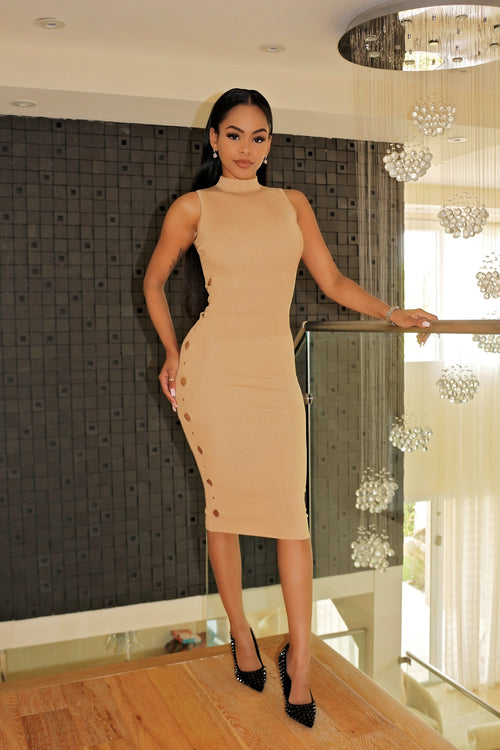 Our Nude Midi Dress with Side teasing - Semai House Of fashion